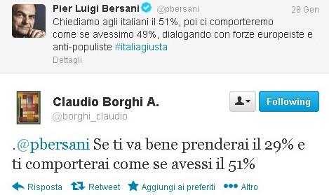 Bersani: chiediamo 51% poi ci comporteremo come avessimo il 49%